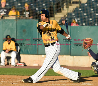 060916 Wesley Bunnell   Staff  New Britain took on the Somerset Patriots on Thursday evening at New Britain Stadium. Michael Crouse #14 on a swing and a miss.