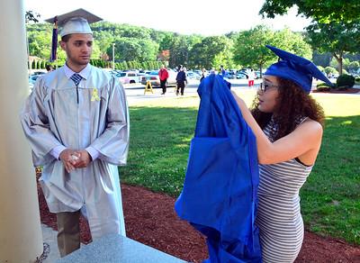 6/9/2016 Mike Orazzi | Staff Bristol Eastern High School graduates Gino Gentile and Amanda Rodriguez at BEHS Thursday evening.