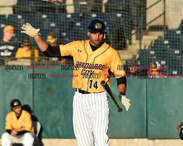 060916 Wesley Bunnell   Staff  New Britain took on the Somerset Patriots on Thursday evening at New Britain Stadium . Michael Crouse #14 flips his bat to the other hand after a swing a miss.