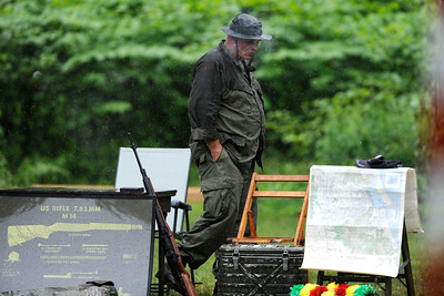 6/11/2016 Mike Orazzi | Staff Dennis Driscoll while re-enacting a Vietnam soldier on Memorial Blvd. for The Traveling Vietnam Wall That Heals on Saturday in Bristol.