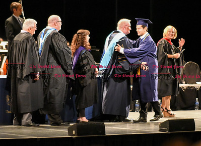 061016 Wesley Bunnell | Staff  The Oakdale Theater in Wallingford was the scene for the 2016 Newington High School Graduation. Senior Class President Luis Cruz.