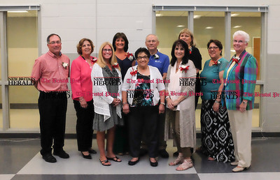 061316 Wesley Bunnell | Staff  The Berlin Board of Education held a reception on Monday evening at Berlin High School honoring the 2016 retirees. From L back row Paul Griswold, Judith Church, Linda Germain, John McNulty, Sarah Kania, Patricia Tedesco, Alice Mitchell, front row Lisa Rouleau, Maria DeFrancesco & Elizabeth Guidone.