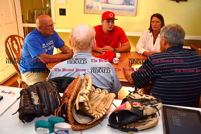 6/14/2016 Mike Orazzi | Staff Matt Blandino and his parents Dave and Kris talk about his contract to play baseball with the Cincinnati Red at the Blandino home on Glendale Drive in Bristol Tuesday evening with Don Titus and Lee Seras, (right) ‎Scouting Supervisor at Cincinnati Reds Baseball Club.