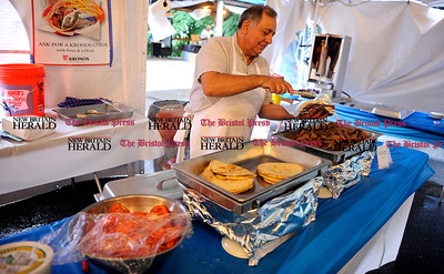 6/13/2013 Mike Orazzi | Staff Antonios Mahlis prepares a gyro during the Zorba 2013 Greek Festival held at St. Demetrios Greek Orthodox Church on Brightwood Road in Bristol on Thursday. The festival ends on Sunday.