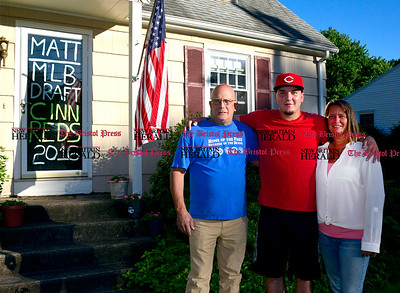 6/14/2016 Mike Orazzi | Staff Matt Blandino with parents Dave and Kris at the Blandino home on Glendale Drive in Bristol Tuesday evening.