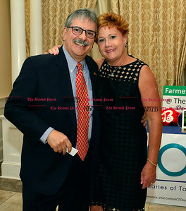 6/16/2016 Mike Orazzi | Staff Mike Nicastro and Central Connecticut Chambers of Commerce President Cindy Scoville during the Bristol Chamber of Commerce 127th annual awards dinner held at the Aqua Turf Club in Southington Thursday evening.