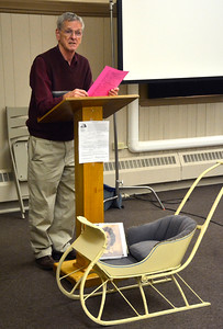4/21/2016 Mike Orazzi | Staff Tom Dickau talks about a book written about Jean Treadway during a Bristol Historical Society program Thursday night.