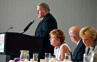 6/29/2016 Mike Orazzi | Staff Bristol Mayor Ken Cockayne during the 2016 State of the City & Town Breakfast at the DoubleTree in Bristol Wednesday morning.