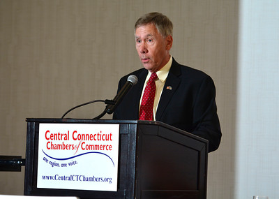6/29/2016 Mike Orazzi | Staff Plymouth Mayor Dave Merchant during the 2016 State of the City & Town Breakfast at the DoubleTree in Bristol Wednesday morning.