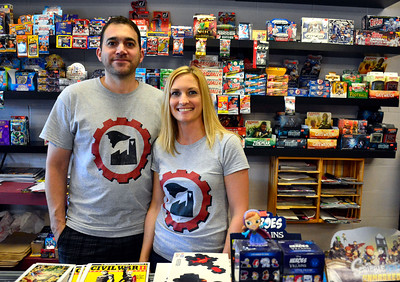 6/30/2016 Mike Orazzi | Staff Christopher and Stephanie Laudate at Industry Comics in Bristol.