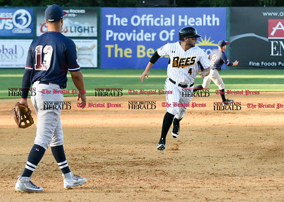 062116  Wesley Bunnell | Staff  New Britain Bees took on visiting Somerset Patriots on Tuesday evening in the second of three games. Steve Carrillo #4 watches the play unfold at to end the inning.
