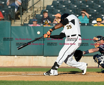 062116  Wesley Bunnell | Staff  New Britain Bees took on visiting Somerset Patriots on Tuesday evening in the second of three games. Jovan Rosa #35 pops a ball foul out of play.
