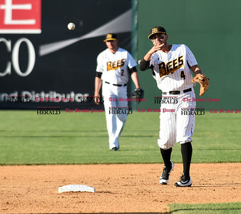 062116  Wesley Bunnell | Staff  New Britain Bees took on visiting Somerset Patriots on Tuesday evening in the second of three games. Steve Carrillo #4 throws the ball back to 3rd after a strike out.