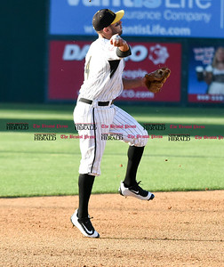 062116  Wesley Bunnell | Staff  New Britain Bees took on visiting Somerset Patriots on Tuesday evening in the second of three games. Steve Carrillo #4 throws to 1st for the out.