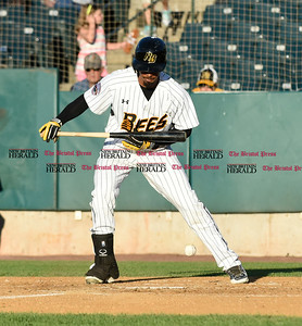 062116  Wesley Bunnell | Staff  New Britain Bees took on visiting Somerset Patriots on Tuesday evening in the second of three games. James Skelton #3 with the bunt attempt.