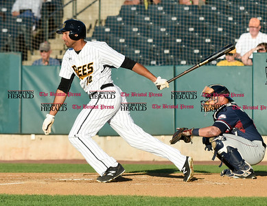 062116  Wesley Bunnell | Staff  New Britain Bees took on visiting Somerset Patriots on Tuesday evening in the second of three games. Michael Crouse #14