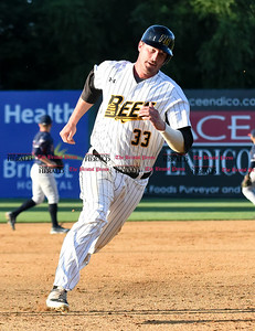 062116  Wesley Bunnell | Staff  New Britain Bees took on visiting Somerset Patriots on Tuesday evening in the second of three games. Jon Griffin #33 comes around to score.