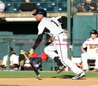 062116  Wesley Bunnell | Staff  New Britain Bees took on visiting Somerset Patriots on Tuesday evening in the second of three games. James Skelton #3