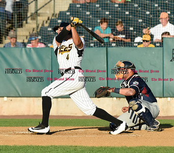 062116  Wesley Bunnell | Staff  New Britain Bees took on visiting Somerset Patriots on Tuesday evening in the second of three games. Steve Carrillo #4