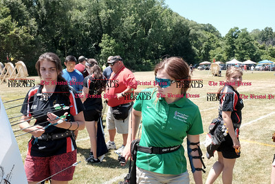 062516  Wesley Bunnell | Staff  The Nutmeg State Games & CTAA Archery Tournament drew competitors from several states to Hungerford Park on Saturday morning.  From L Hanna Tabit of Hall's Arrow All Stars with Sydney Burke of Smith Point Archery middle.