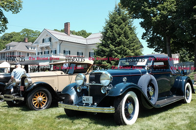 062516  Wesley Bunnell | Staff  Friends of the Barnes Museum held their second annual Wheels of the Past classic car show on Saturday morning. From L a 1930 Model A, 1927 Buick & a 1932 Lincoln LeBaron convertible.