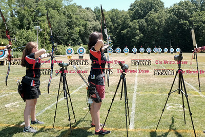 062516  Wesley Bunnell | Staff  The Nutmeg State Games & CTAA Archery Tournament drew competitors from several states to Hungerford Park on Saturday morning.  Hana Tabit, center, ready to shoot.