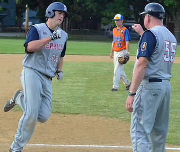 KYLE MENNIG - ONEIDA DAILY DISPATCH Sherrill Post's Andrew Roden is congratulated by coach John Roden as he rounds third after hitting a home run during a game against Oneida Post in Sherrill on Wednesday, June 15, 2016.