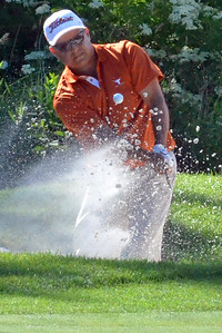 KYLE MENNIG - ONEIDA DAILY DISPATCH Omar Uresti hits out of the sand on No. 16 at Atunyote during the 49th PGA Professional Championship in Vernon on Wednesday, June 29, 2016.