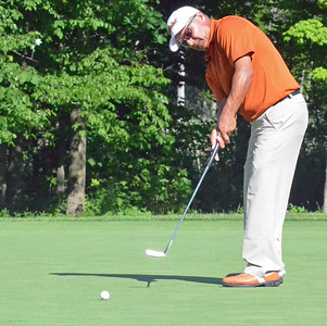 KYLE MENNIG - ONEIDA DAILY DISPATCH Omar Uresti watches his putt on No. 15 at Atunyote during the 49th PGA Professional Championship in Vernon on Wednesday, June 29, 2016.