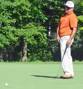KYLE MENNIG - ONEIDA DAILY DISPATCH Omar Uresti reacts to a missed putt on No. 15 at Atunyote during the 49th PGA Professional Championship in Vernon on Wednesday, June 29, 2016.