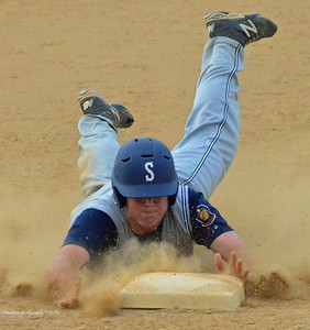 KYLE MENNIG - ONEIDA DAILY DISPATCH Sherrill Post's Andrew Roden dives headfirst into third during a game against Oneida Post in Sherrill on Wednesday, June 15, 2016.