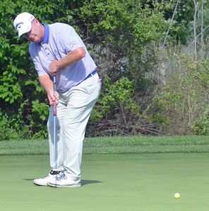 KYLE MENNIG - ONEIDA DAILY DISPATCH Mark Brown watches his putt on No. 15 at Atunyote during the 49th PGA Professional Championship in Vernon on Wednesday, June 29, 2016.