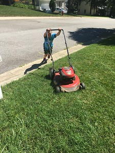Lawn mowing for the first time!!!