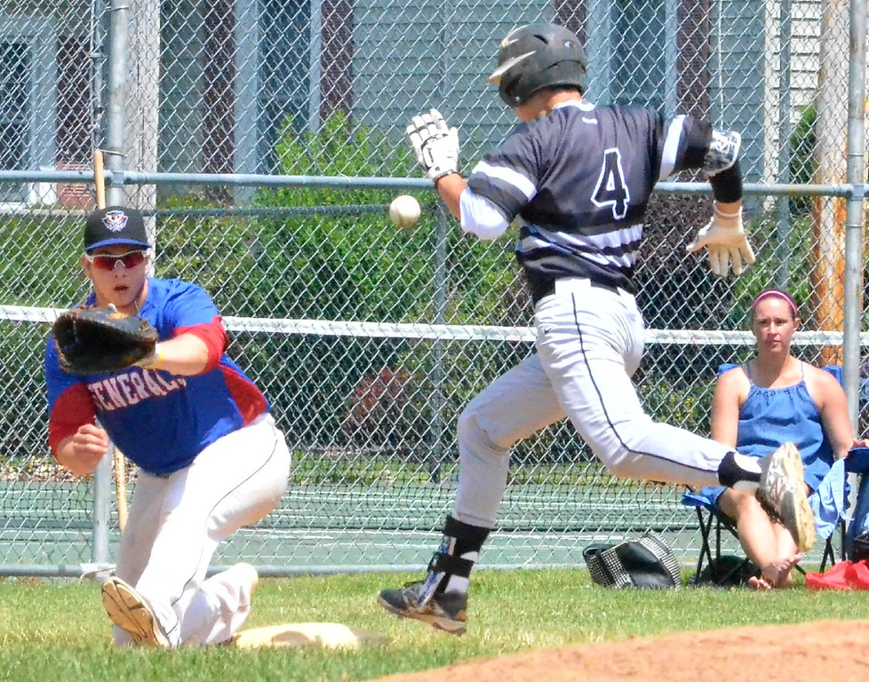 . KYLE MENNIG � ONEIDA DAILY DISPATCH Sherrill�s Jake Coro (4) safely reaches first as Rome�s Brian Donnelly (16) awaits the throw during their NYCBL game in Sherrill on Saturday, June 17, 2017.