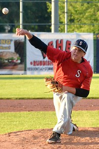 KYLE MENNIG – ONEIDA DAILY DISPATCH Sherrill Post pitcher Andrew Roden delivers a pitch to a Utica Post batter during their American Legion Baseball game in Utica on Tuesday, June 20, 2017.