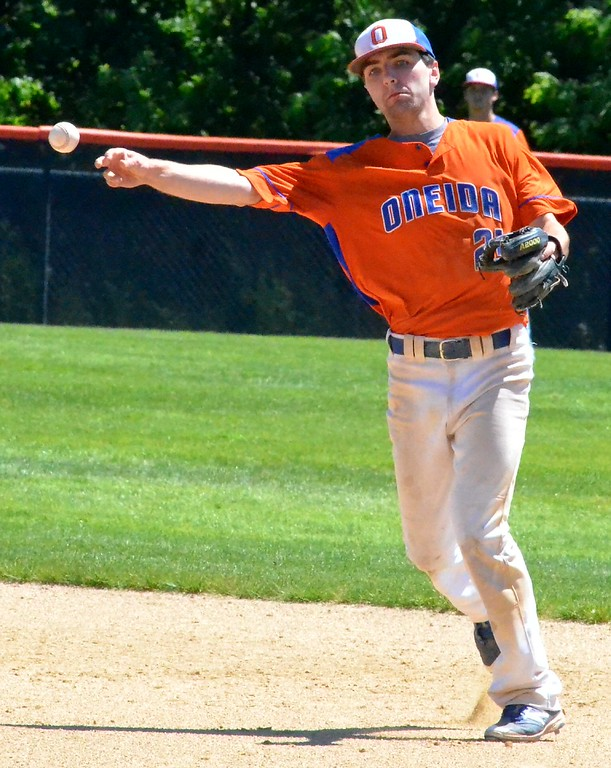 . KYLE MENNIG - ONEIDA DAILY DISPATCH Oneida�s James Dick makes the throw to first to retire a Seton Catholic Central batter during their NYSPHSAA Class B regional final in Endicott on Saturday, June 3, 2017.