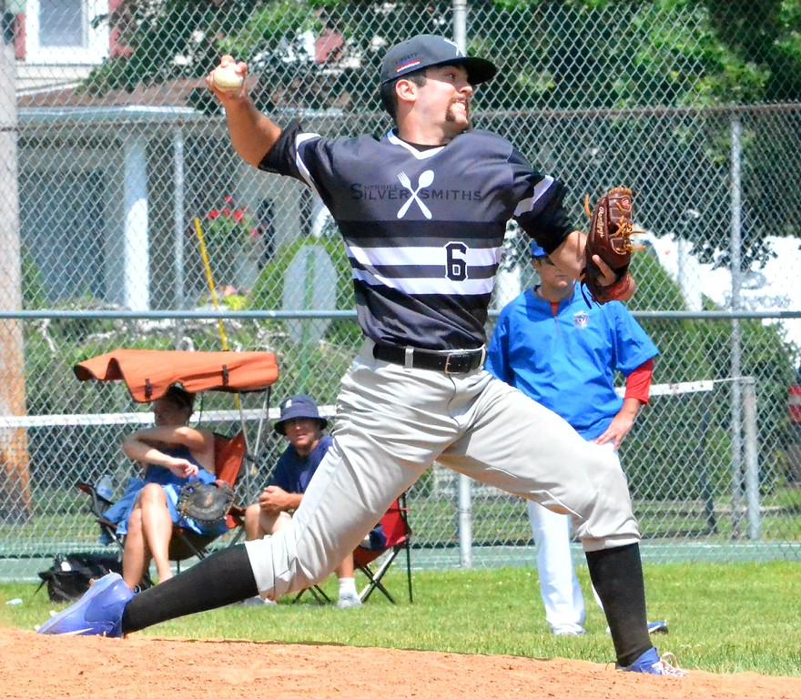 . KYLE MENNIG � ONEIDA DAILY DISPATCH Sherrill�s Jay Palais delivers a pitch to a Rome batter during their NYCBL game in Sherrill on Saturday, June 17, 2017.