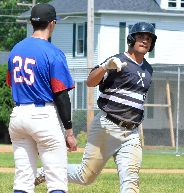. KYLE MENNIG � ONEIDA DAILY DISPATCH Sherrill�s Kingsley Ballao (19) acknowledges his family after hitting a home run against Rome during their NYCBL game in Sherrill on Saturday, June 17, 2017.