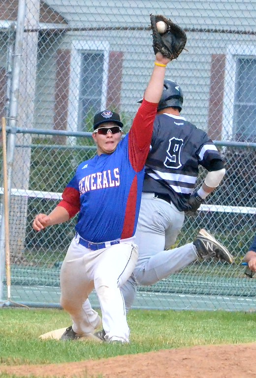 . KYLE MENNIG � ONEIDA DAILY DISPATCH Sherrill�s Joshua Goldstein (9) steps on first as Rome�s Brian Donnelly (16) makes the catch during their NYCBL game in Sherrill on Saturday, June 17, 2017. Goldstein was called out on the play.