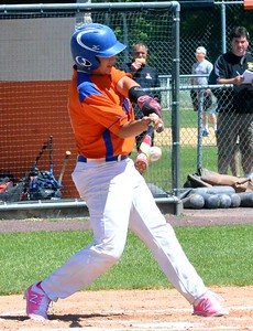 KYLE MENNIG - ONEIDA DAILY DISPATCH Oneida's Jorden Barlow connects for a second-inning single against Seton Catholic Central during their NYSPHSAA Class B regional final in Endicott on Saturday, June 3, 2017.