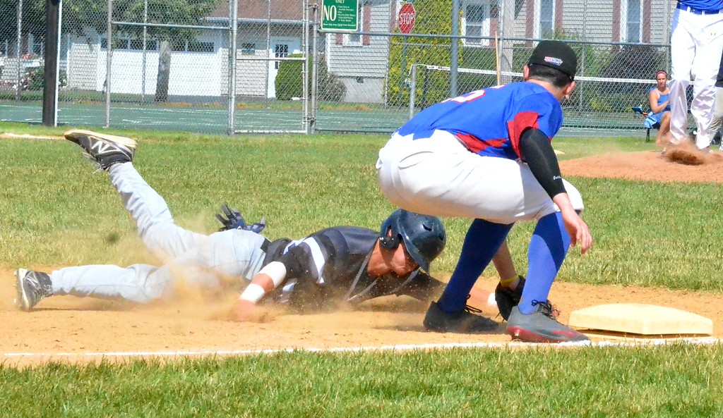 . KYLE MENNIG � ONEIDA DAILY DISPATCH Sherrill�s Joshua Goldstein (9) is tagged out trying to steal third by Rome�s Travis Macrides (25) during their NYCBL game in Sherrill on Saturday, June 17, 2017.