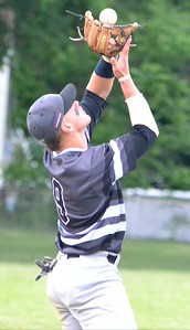 KYLE MENNIG - ONEIDA DAILY DISPATCH Sherrill Silversmith Joshua Goldstein makes a catch to retire a Syracuse Salt Cats batter during their game in Sherrill on Friday, June 2, 2017.