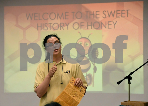6/27/2017 Mike Orazzi | Staff Catherine Wolko of the Humble Bee Honey Company in Watertown gives a talk on bee keeping at the Bristol Public Library Tuesday afternoon.