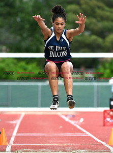 6/1/2017 Mike Orazzi | Staff St. Paul's Aidrianna Lopez during the Class S Outdoor track meet in New Britain Thursday at Willow Brook Park.