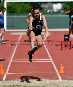 6/1/2017 Mike Orazzi | Staff St. Paul's Melissa Lyder during the Class S Outdoor track meet in New Britain Thursday at Willow Brook Park.