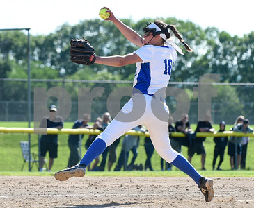 060217  Wesley Bunnell | Staff  Southington High softball defeated E.O. Smith in a quarterfinal game on Friday afternoon. Pitcher Kara Zazzaro (18)