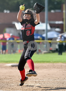 060217  Wesley Bunnell   Staff  Southington High softball defeated E.O. Smith in a quarterfinal game on Friday afternoon. E.O. Smith pitcher Hailey Golembiewski (6).