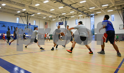 060517 Wesley Bunnell | Staff  Bristol Police took part with area youth in a 3 on 3 basketball tournament at the Bristol Boys & Girls Club on Monday evening. The event was designed to show area children the community cares about them and wants them to succeed.