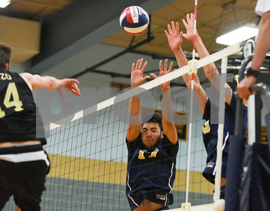 060617 Wesley Bunnell | Staff  Newington boys volleyball defeated Joel Barlow at Kennedy High School in Waterbury in a semi final game to advance to the championship game to be played on June 8. Ahmer Masood (14)