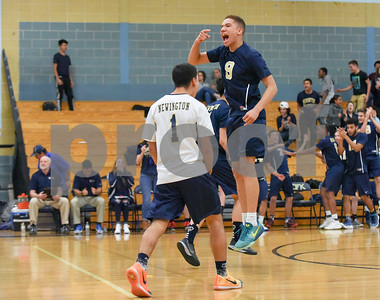 060617 Wesley Bunnell | Staff  Newington boys volleyball defeated Joel Barlow at Kennedy High School in Waterbury in a semi final game to advance to the championship game to be played on June 8. Kevin Bibraut (1) & Andres Ithier-Vicenty (9).